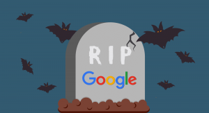 Gravestone with Google written on the front